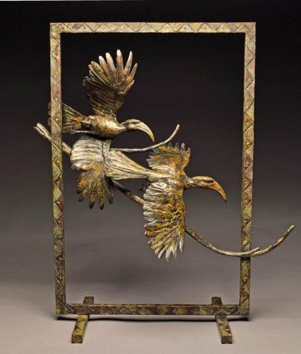"Air Africa  Bronze Red Billed Hornbill Sculpture Edition of 15  38"" H x 31"" W x 13"" D - Savides Sculpture Portfolio Collection"