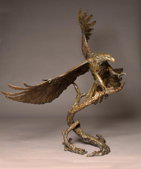 "Air Force One Bronze Bald Eagle Sculpture  Edition of 16 65"" H x 52"" W X 33""D $29,000.   Table top editionEdition of 32 33"" H x 20""D x 29""W $7300 - Savides Sculpture Portfolio Collection"