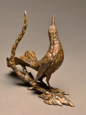 "Attitude is Everything  Bronze Grackle Sculpture  Edition of 19  12""H x 13.5W x 5""D - Savides Sculpture Portfolio Collection"