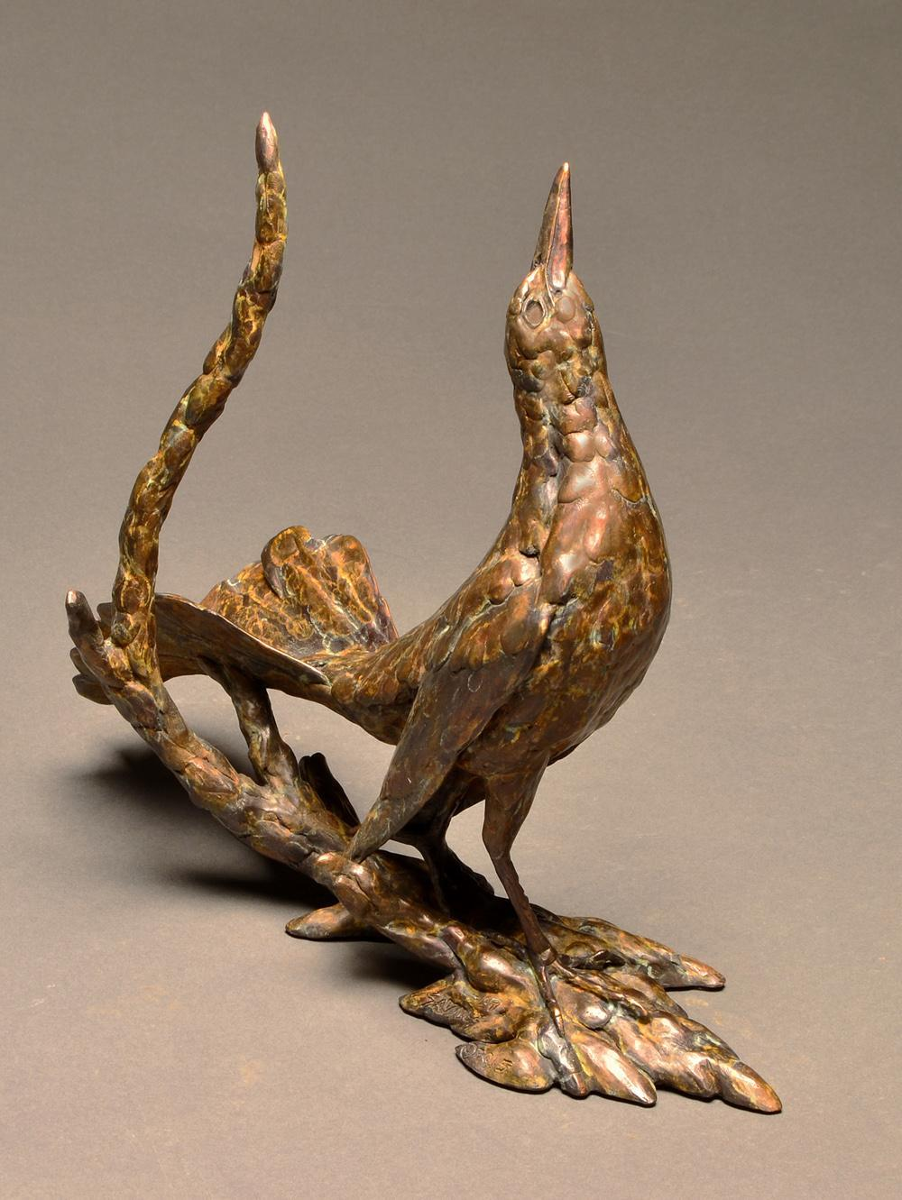 """Attitude is Everything"" Bronze Grackle Sculpture"