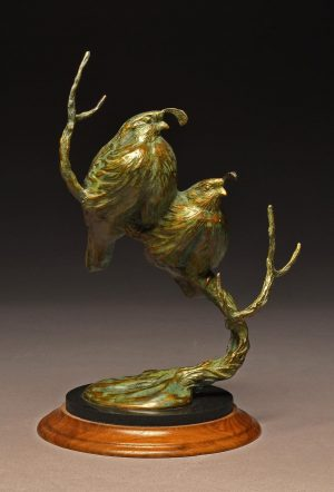 "California`s Pride - Valley Quail  Height - 12"" x Length - 9"" x Width - 8""  Limited Edition of 25 - Savides Sculpture"