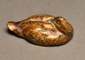 "Canvasback Mini  Bronze Canvasback Duck Sculpture  Edition of 75  2""H x 5.5""W x 3""D - Savides Sculpture Portfolio Collection"