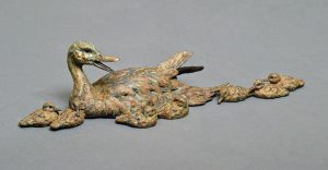 "Cuz Momma Sez  Bronze Pintail Hen with brood  Edition of 35  5""H x 23""W 8.5""D - Savides Sculpture Portfolio Collection"