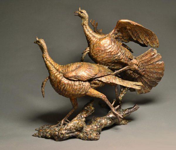 """Double Shot of Wild Turkey Bronze Wild Turkey Toms  Life-size Edition of 14  36""""H x 44""""W x 43""""D - Savides Sculpture Portfolio Collection"""
