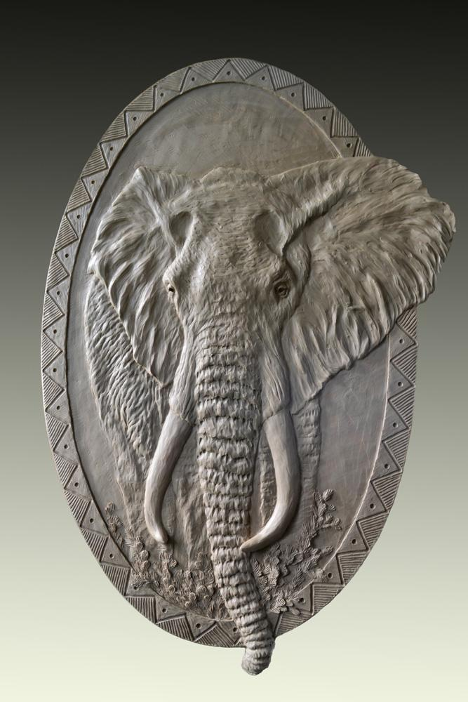 Elephant Relief 2.5 x 4- Cabela Residence <br>Sidney, NE. - Savides Sculpture Sculpture Commissions One of a kind Sculpture
