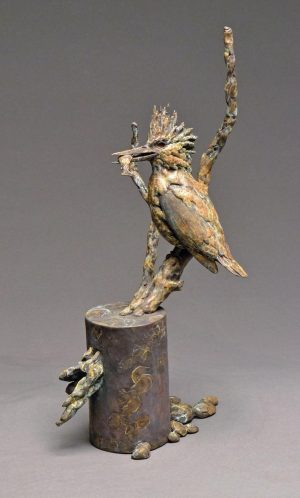 "Fish Finder  Bronze Kingfisher  Edition 35  19.5H x 11""W x 9""D - Savides Sculpture Portfolio Collection"