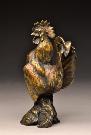 "Frank  Bronze Banty Rooster Sculpture  Edition of 25  8"" H x 2.5""W X 4.5"" D  - Savides Sculpture Portfolio Collection"