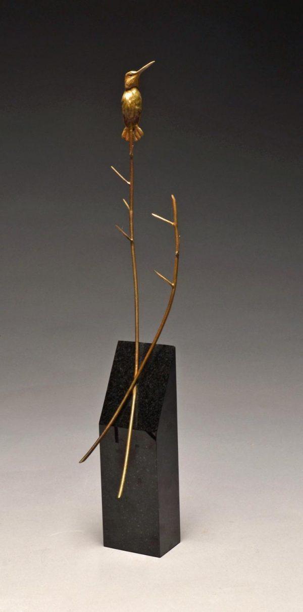 """Garden Warrior  Bronze Anna`s Hummingbird Sculpture  Edition of 32  21"""" H x 9"""" W x 4"""" WD SOLD OUT - Savides Sculpture Portfolio Collection"""