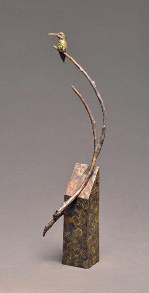 """Garden Warrior Revisited  Bronze Anna`s Hummingbird  Edition of 35  23""""H x 6""""W x 6""""D - Savides Sculpture Portfolio Collection"""