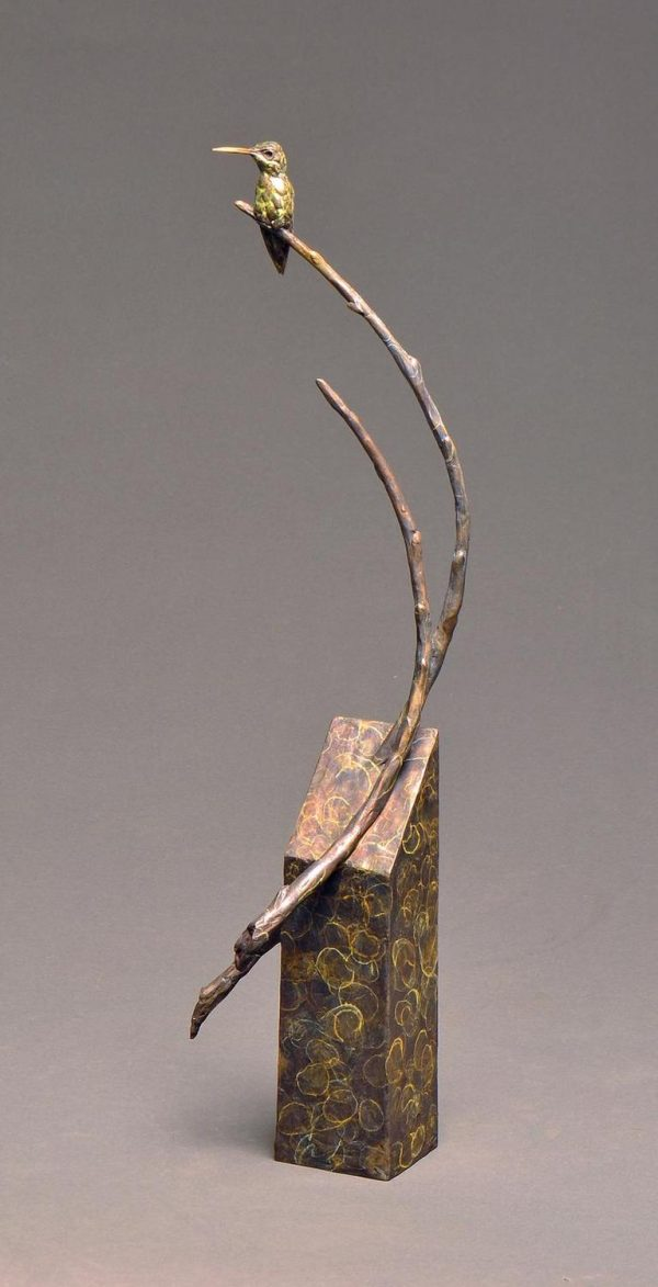 "Garden Warrior Revisited  Bronze Anna`s Hummingbird  Edition of 35  23""H x 6""W x 6""D - Savides Sculpture Portfolio Collection"