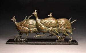 "Grasshopper Posse  Bronze Helmeted Guinea Fowl Sculpture, Free Standing Relief, Edition of 1517"" H x 34.5"" W  x 6.5"" D - Savides Sculpture Portfolio Collection"