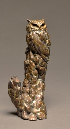 "Graveyard Shift  Bronze Screech Owl SculptureEdition of 3513""H x 6""W x 6""D - Savides Sculpture Portfolio Collection"