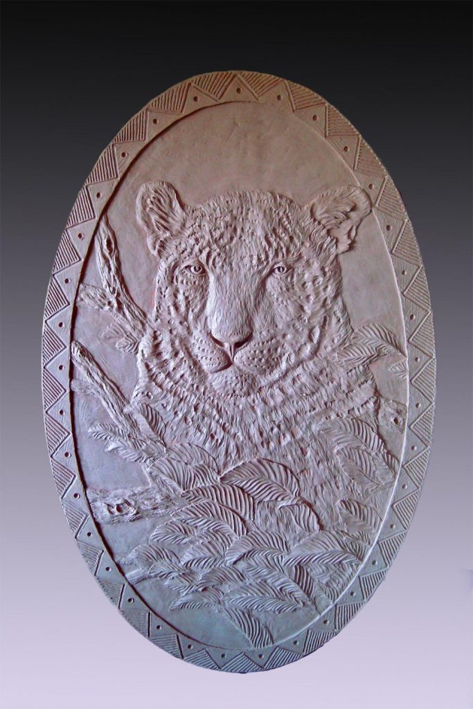 Leopard Relief - Cabela Residence<br> Sidney, NE - Savides Sculpture Sculpture Commissions One of a kind Sculpture