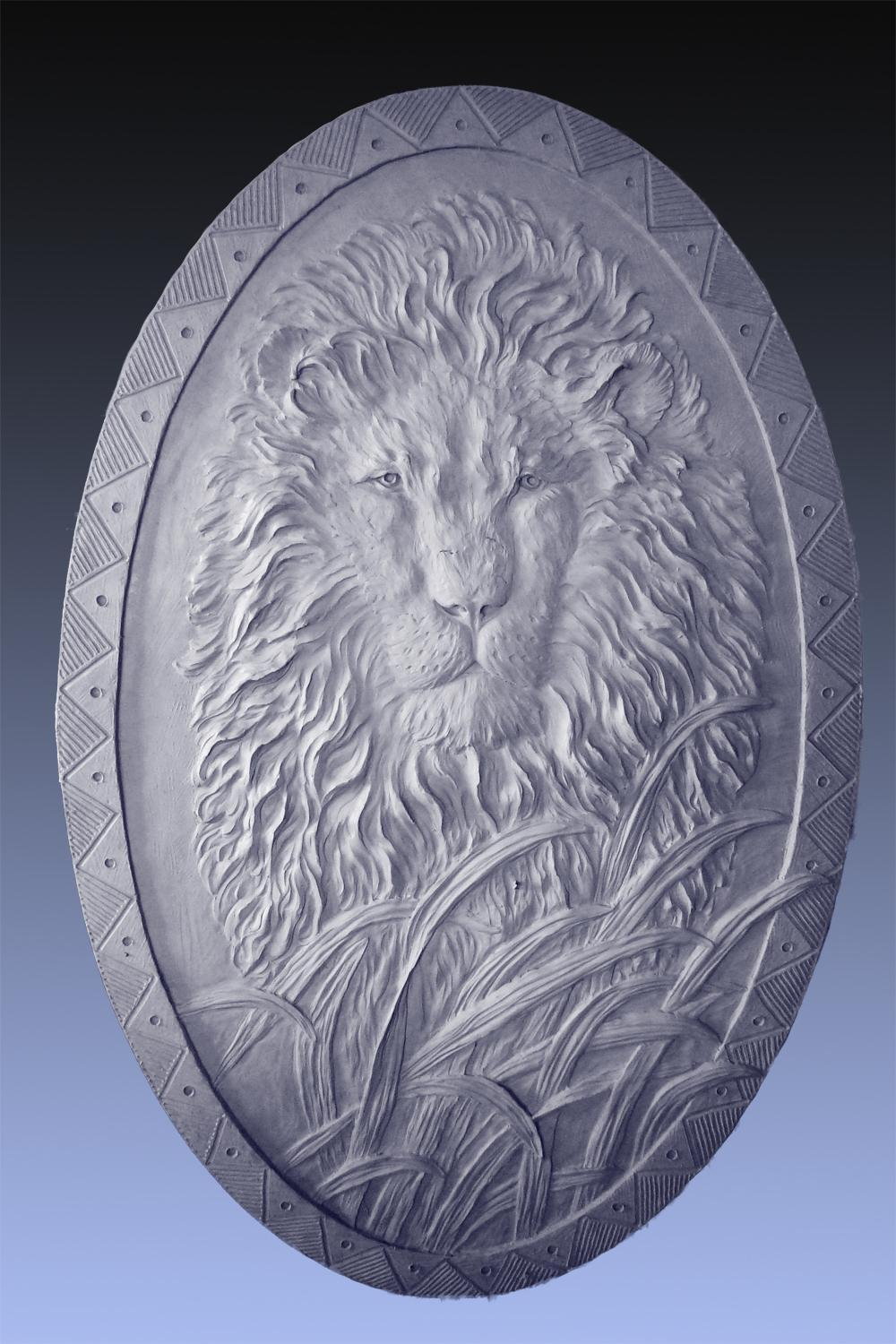Lion Relief 2.5 x 4 - Cabela Residence <br> Sidney, NE - Savides Sculpture Sculpture Commissions One of a kind Sculpture