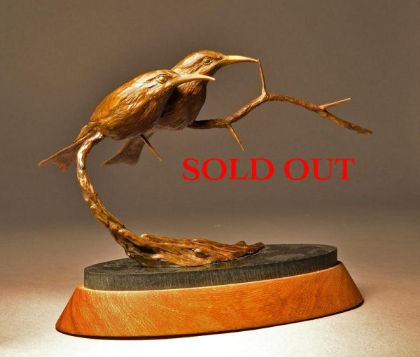 "Little Bee Eaters  Bronze Little Bee Eater Sculpture  Edition of 12   6.5"" H  x  8"" W  x  4"" D - Savides Sculpture Portfolio Collection"