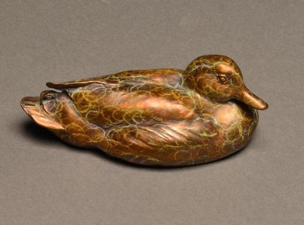 "Mallard Mini  Bronze Mallard Duck Sculpture  Edition of 75   2""H x 5.5""W x 3""D - Savides Sculpture Portfolio Collection"