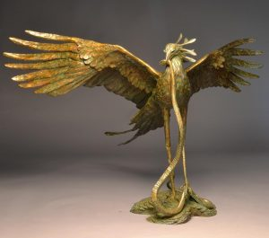 "Mamba Samba  Bronze Secretary Bird Sculpture  Edition of 8  4"" H x 65""W X 4 D  SOLD OUT - Savides Sculpture Portfolio Collection"