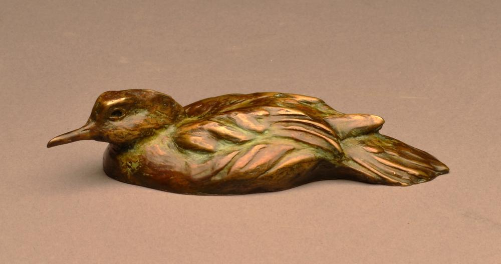 """Mergie Mini"" Bronze Hooded Merganser Duck Sculpture"