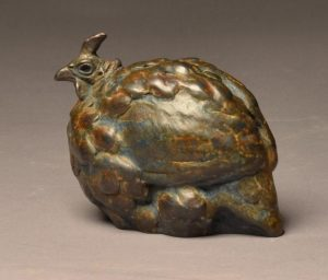 "Mini Guinea  Bronze Guinea Fowl Sculpture  Edition of 35  5""H x 5""W x 3.5""D - Savides Sculpture Portfolio Collection"