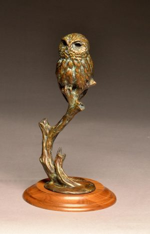 "Minnie Mouser  Bronze Elf Owl Sculpture  Edition of 35 10.5"" H x 4"" W x 4"" D - Savides Sculpture Portfolio Collection"