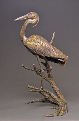 "Opportunist  Bronze Great Blue Heron  Edition of 18  39"" H x 21"" W x 20""D - Savides Sculpture Portfolio Collection"