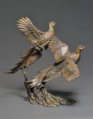 "Over and Under  Bronze Pheasant Sculpture  Edition of 29  25""H x 24""W x 17""D - Savides Sculpture Portfolio Collection"