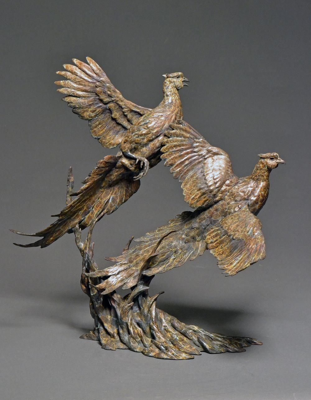 """Over and Under"" Bronze Pheasant Sculpture"