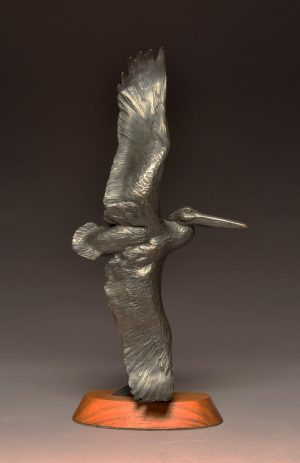 "Pelican on Parade Maquette  Bronze White Pelican Sculpture  Edition of 20  14"" H  x 7"" W - Savides Sculpture Portfolio Collection"