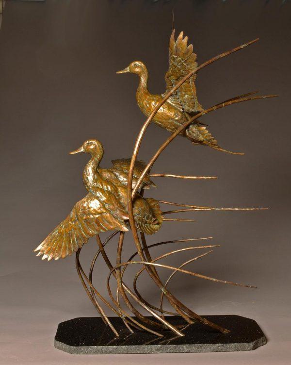 "Pins and Curls  Bronze Pintail & Mallard Sculpture  Edition of 30 46"" H x 40"" W x 18"" D - Savides Sculpture Portfolio Collection"