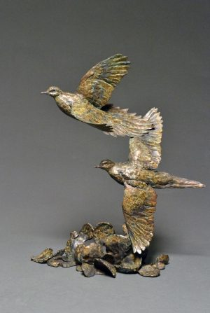 "Prickly Pair  Bronze Dove Sculpture  Edition of 35  24""H x 18""W x 10""D - Savides Sculpture Portfolio Collection"