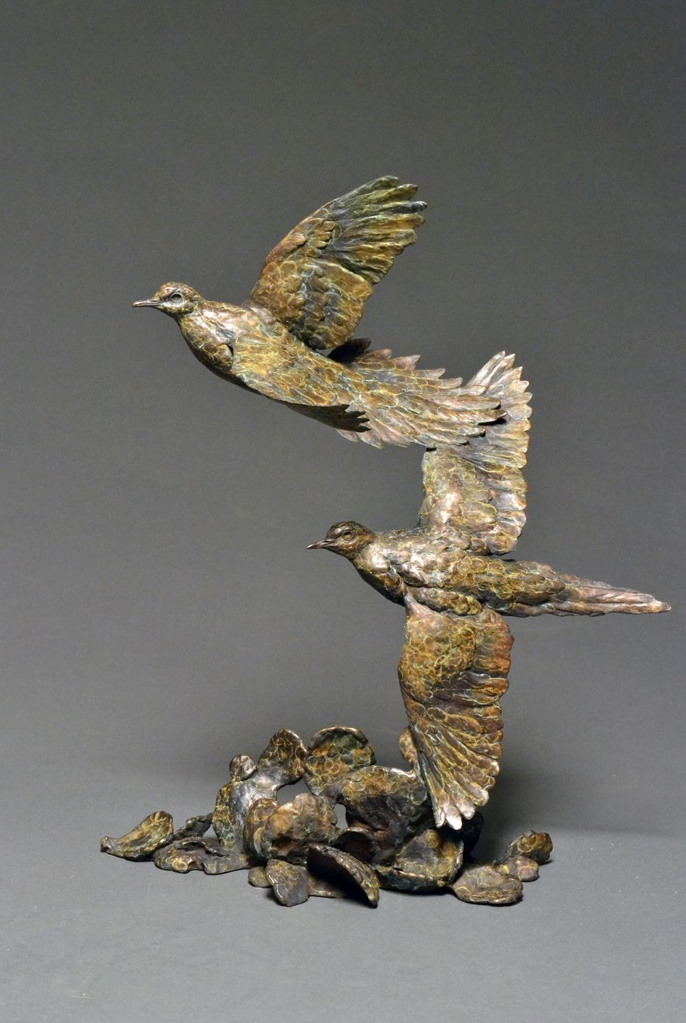 """Prickly Pair"" Bronze Mourning Dove sculpture"