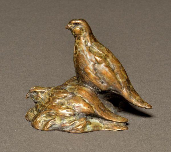 "Quail Pair Mini  Bronze Bob White Quail Pair Sculpture  Edition of 75  3""H x 3""W x 3""D - Savides Sculpture Portfolio Collection"
