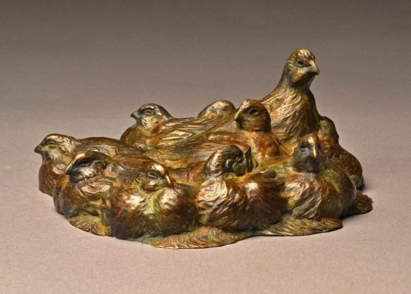 "Quail Pie  Bronze Bob White Quail Covey  Edition of 32  3.5""H x 8""W x 8""D - Savides Sculpture Portfolio Collection"