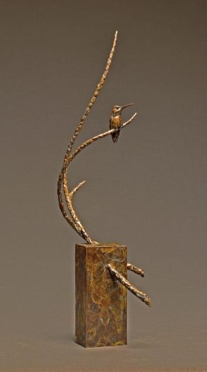 "Rest Stop Bronze Anna`s Hummingbird Sculpture Edition of 35 24""H x 6.5""W x 9""D - Savides Sculpture Portfolio CollectionSold Out"