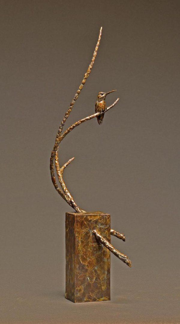 "Rest Stop Bronze Anna`s Hummingbird Sculpture Edition of 35 24""H x 6.5""W x 9""D - Savides Sculpture Portfolio CollectionSold Out"