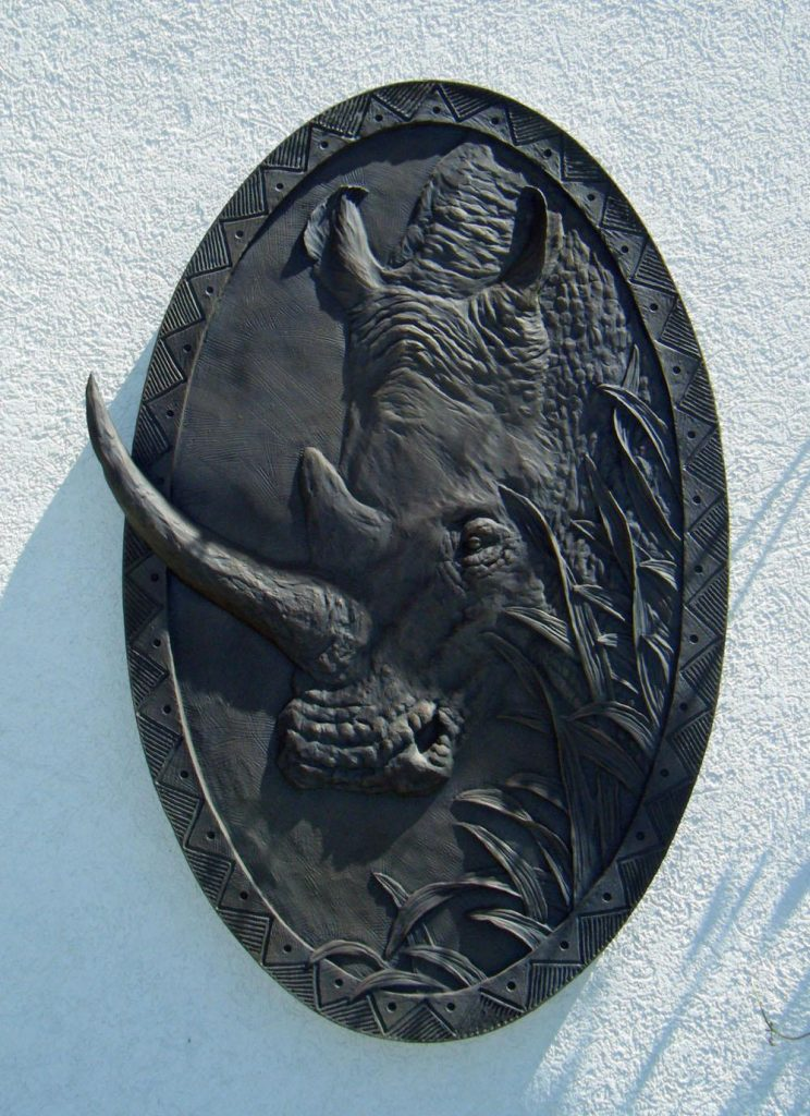 Rhino Relief 2.5 x 4 - Cabela Residence <br> Sidney, NE - Savides Sculpture Sculpture Commissions One of a kind Sculpture