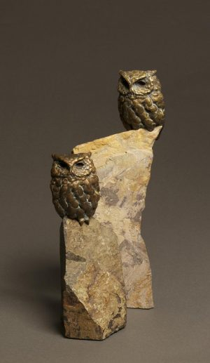 Rock Star  Bronze Screech Owl Sculpture  Edition of 35  Size Varies - Savides Sculpture Portfolio Collection