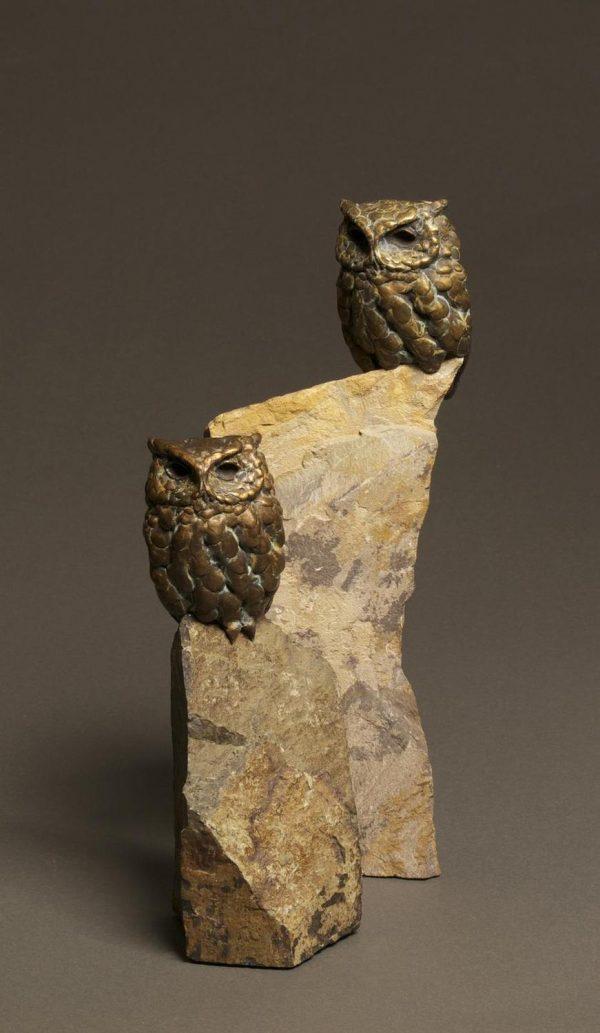 Rock Star  Bronze Screech Owl Sculpture  Edition of 35  Size Varies - Savides Sculpture Portfolio Collection