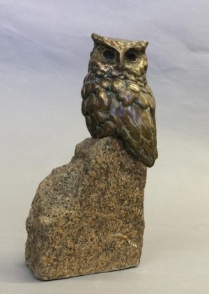 Rockin` Out  Bronze Screech Owl  Edition of 35  Size Varies - Savides Sculpture Portfolio Collection