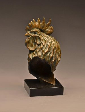 "Rooster Cogburn Life-Size Bronze Rooster Bust Edition of 15  12"" H x 5.5"" W x 5"" D - Savides Sculpture Portfolio Collection"