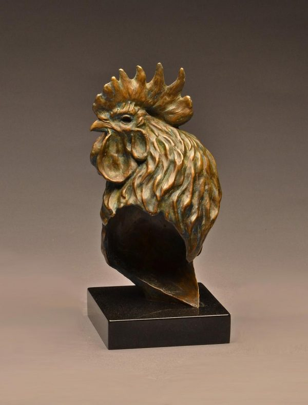"""Rooster Cogburn Life-Size Bronze Rooster Bust Edition of 15  12"""" H x 5.5"""" W x 5"""" D - Savides Sculpture Portfolio Collection"""
