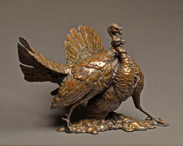 """Round Twelve  Wild Turkeys  Bronze Turkey Sculpture Edition of 28  13"""" H x 18"""" W x 15""""D - Savides Sculpture Portfolio Collection"""