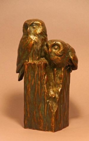 "Saw What?  Bronze Saw Whet Owl Pair Sculpture  Edition of 32 11"" H x 5.5"" W X 6""D - Savides Sculpture Portfolio Collection"