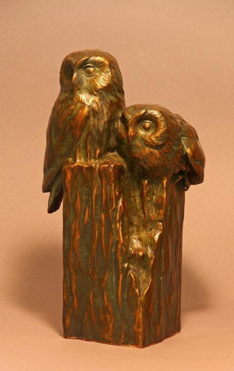 "Saw What?  Bronze Saw Whet Owl Pair Sculpture  Edition of 32 11"" H x 5.5"" W X 6""D - Savides Sculpture Portfolio Collection"