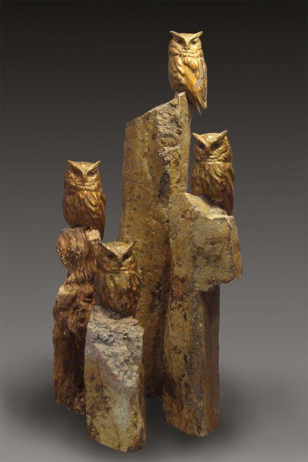 Screech Owl Original  Bronze Screech Owl Sculpture  Edition of 30  Size Varies SOLD OUT - Savides Sculpture Portfolio Collection