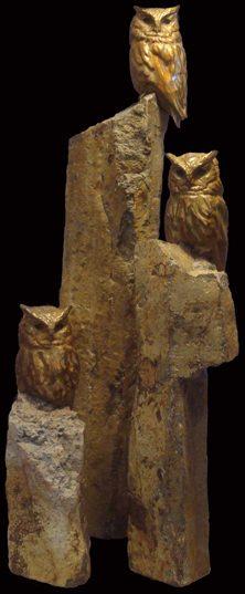 Screech Owls - Savides Sculpture Bird Sculpture Bird Statues