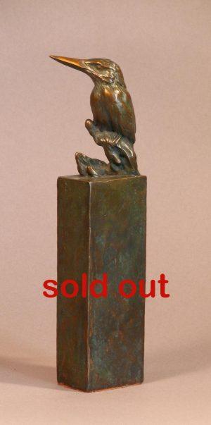 "Size Doesn`t Matter  Bronze Malachite Kingfisher Sculpture  Edition of 12  10"" H x 3"" W x 1.5"" D - Savides Sculpture Portfolio Collection"