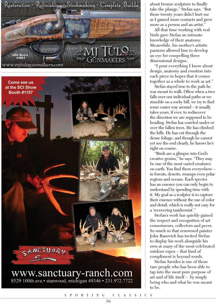 - Savides Sculpture Sporting Classics Magazine Stefan Savides Magazine Article