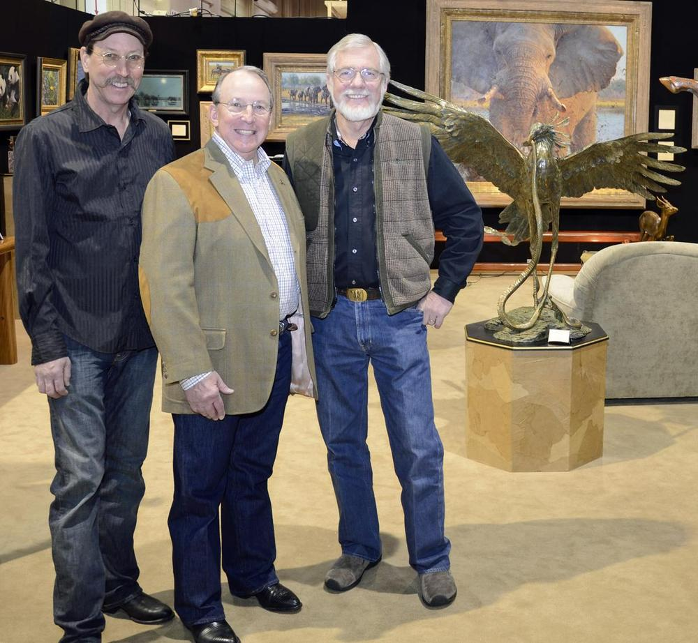 Savides with NRA President Ron Schmiets<br> and sculptor Kent Ullberg - Savides Sculpture cabela banovich csonka ullberg