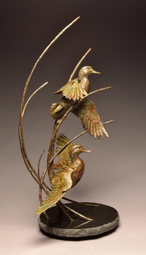 "Straight Flush  Bronze Green-Winged Teal Sculpture  Edition of 30  50"" H x 25"" W x 20"" D - Savides Sculpture Portfolio Collection"